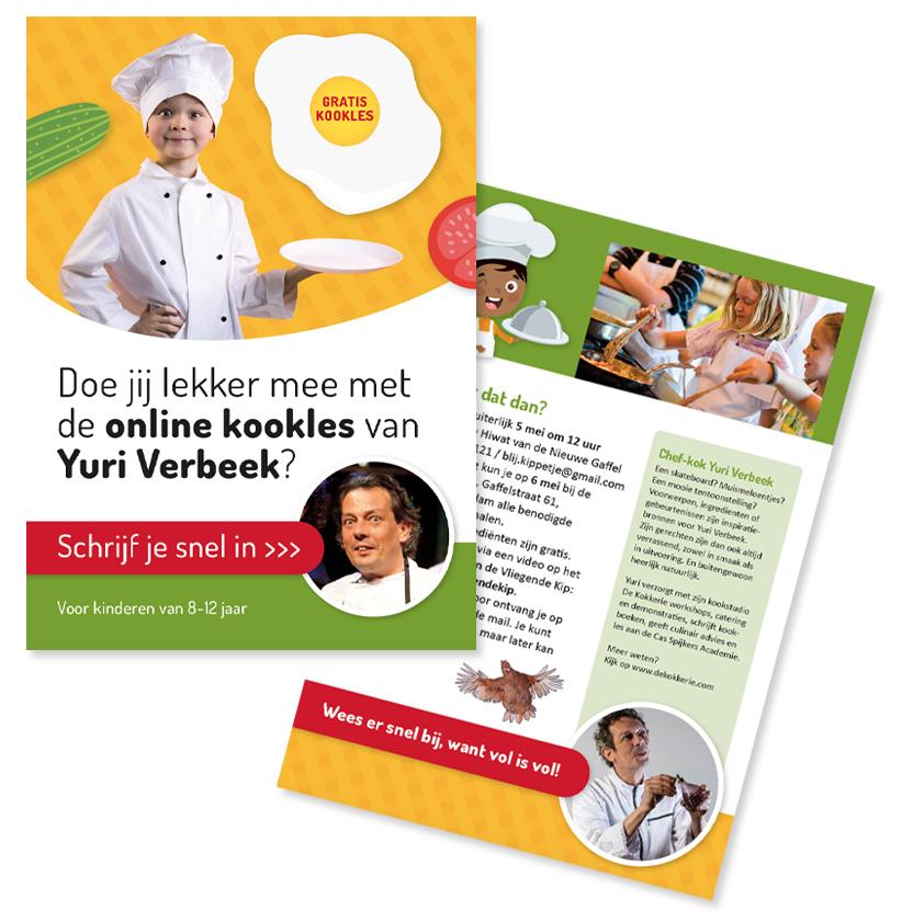 Flyer gratis workshop koken voor kinderen met Yuri Verbeek